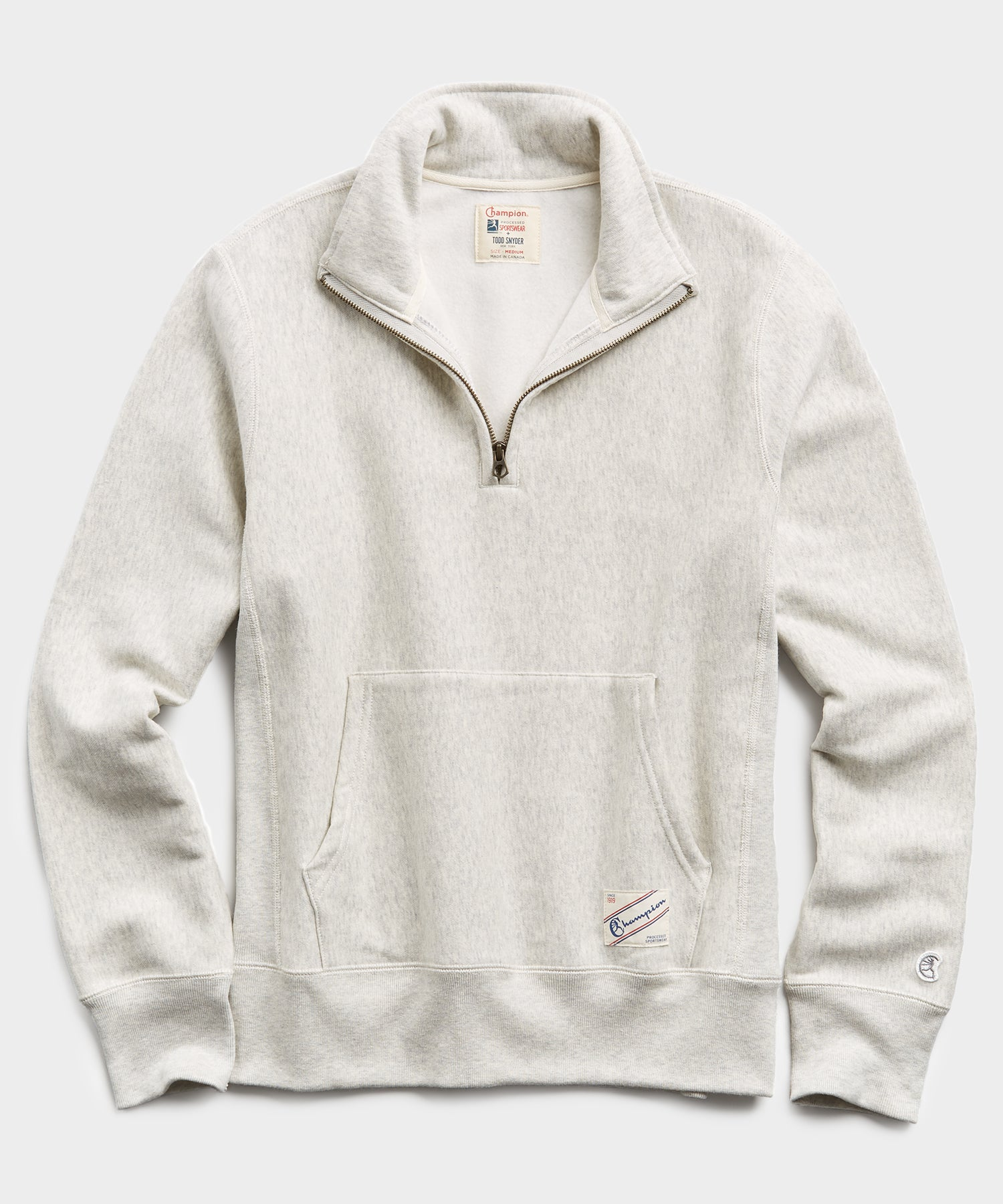 Heavyweight Quarter Zip Sweatshirt in Eggshell Mix
