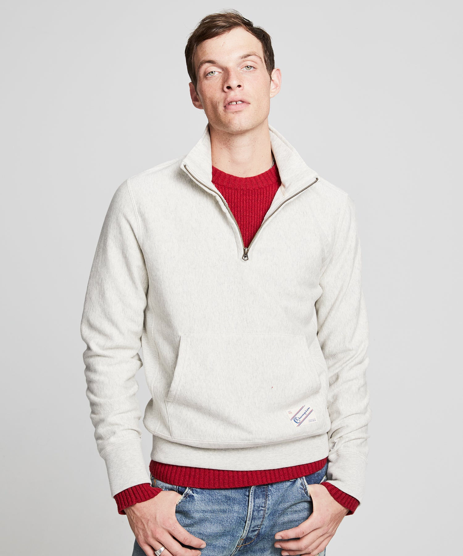 Quarter Zip Sweatshirt in Eggshell Mix