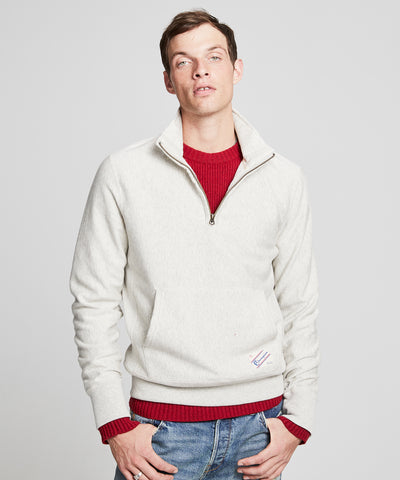 Fleece Quarter Zip Sweatshirt in Eggshell Mix