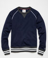 Wool Herringbone Raglan Crew Sweatshirt in Navy