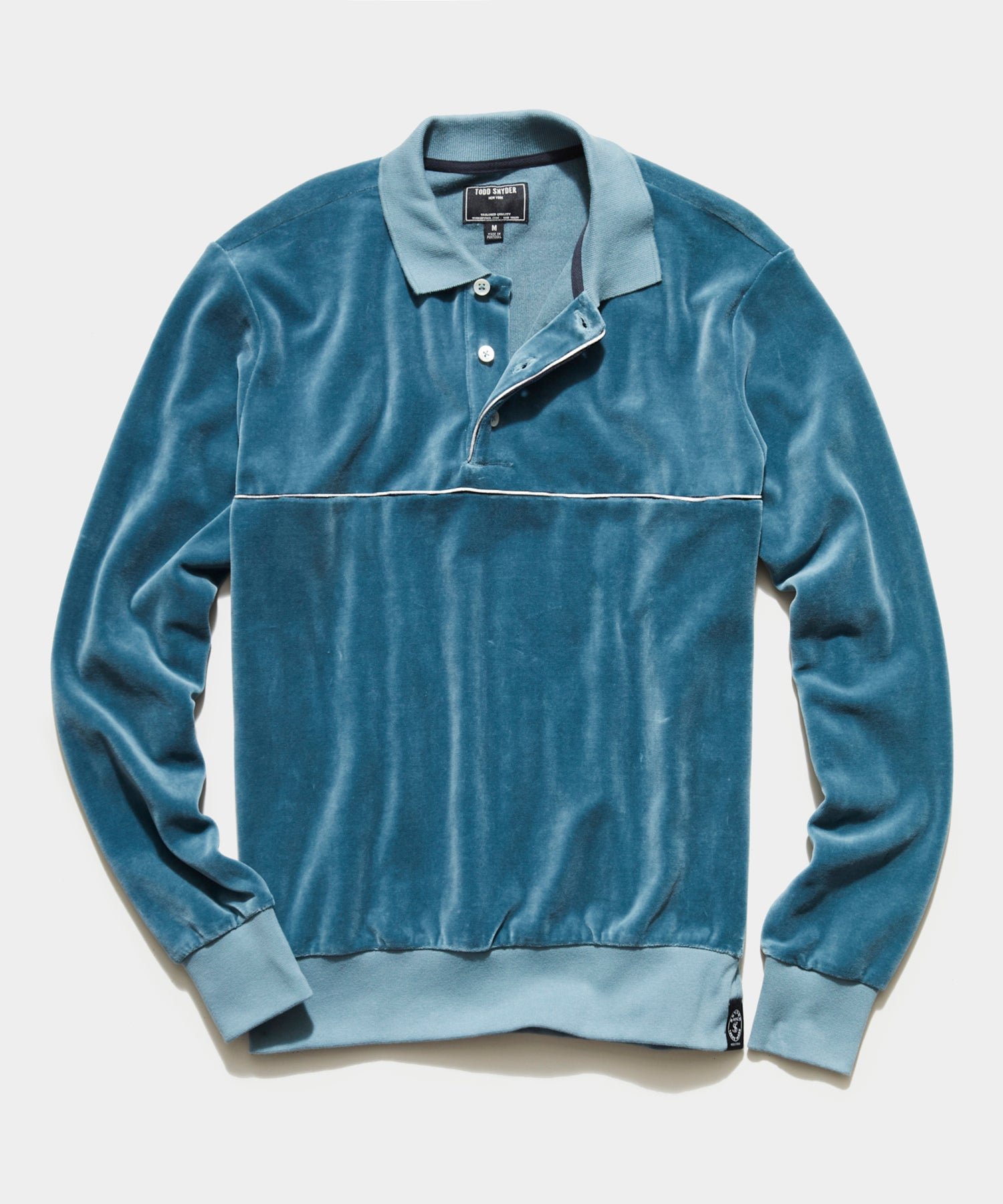 Velour Piped Polo in Airforce Blue
