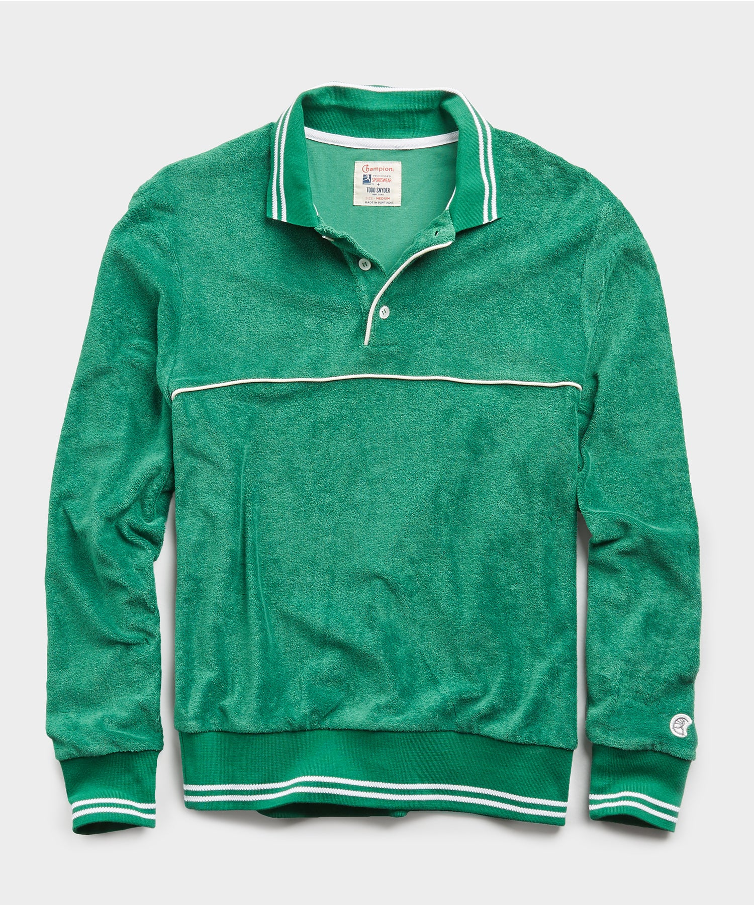 Champion Terry Long Sleeve Polo in Turf Green