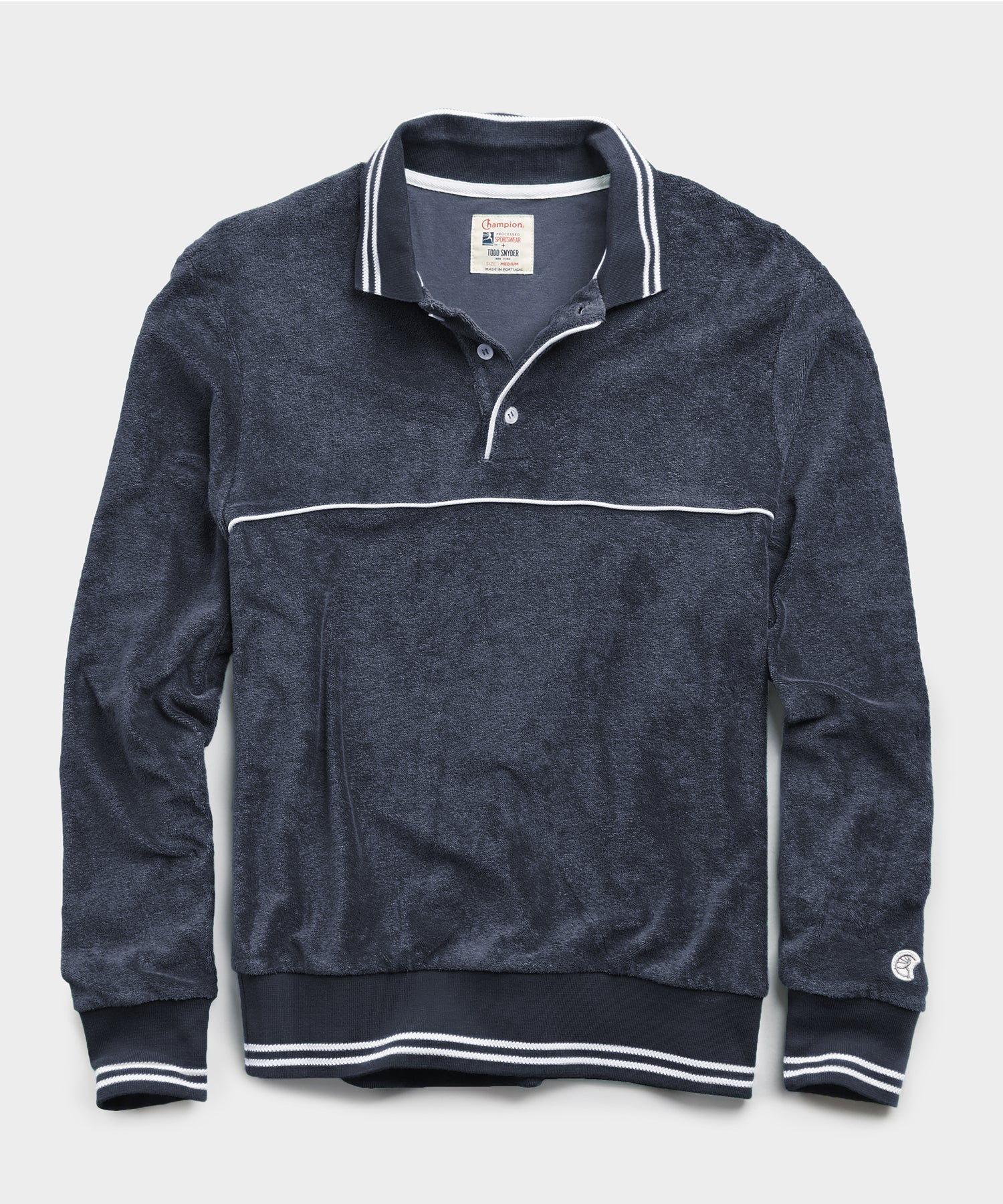 Champion Terry Long Sleeve Polo in Navy