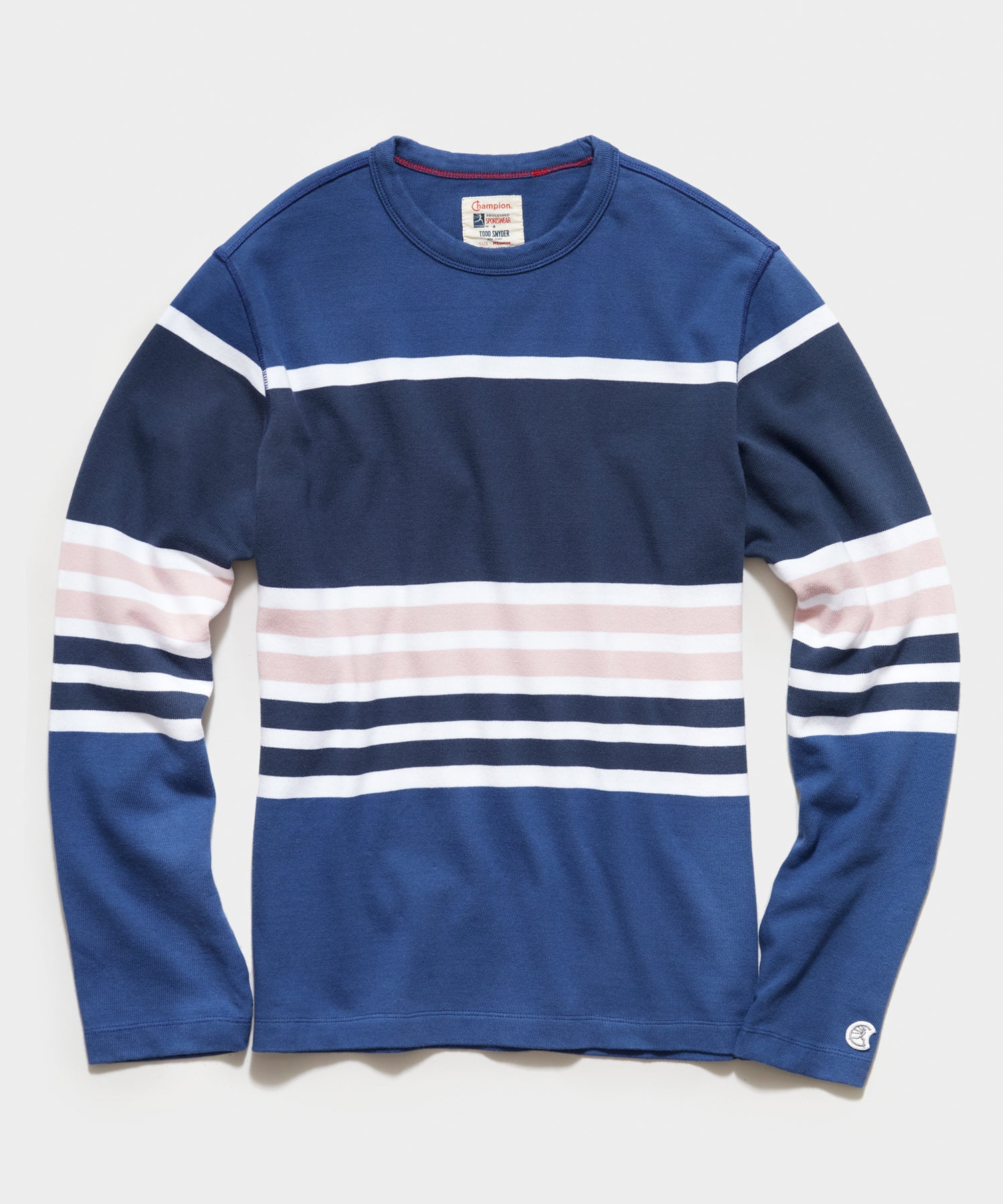 Long Sleeve Engineered Stripe Tee in Blue Ink