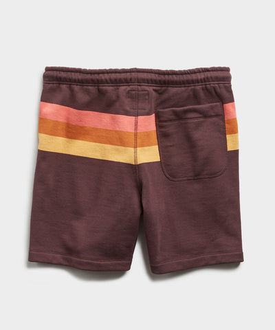"7"" Engineered Stripe Warm Up Short in Oxblood"