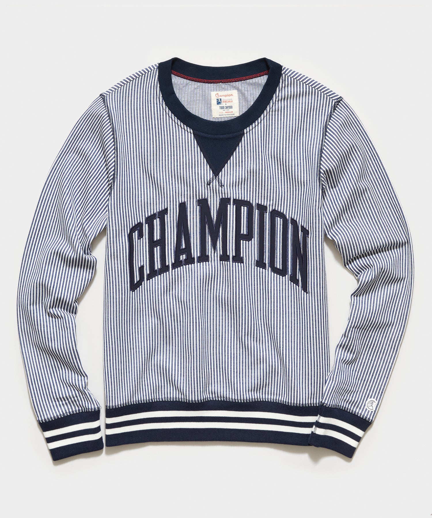 Seersucker Crewneck Sweatshirt in Navy