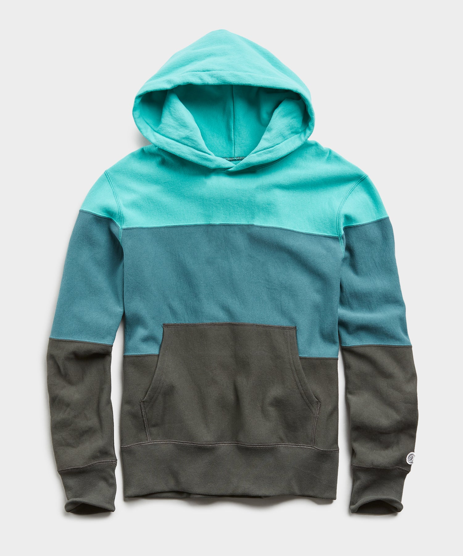 Lightweight Pieced Stripe Popover Hoodie in Seafoam