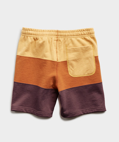 Lightweight Pieced Stripe Warm Up Short in Honeycomb