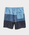 Lightweight Pieced Stripe Warm Up Short in Lakeside Blue