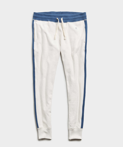 Champion Side Stripe Slim Sweatpant in Alabaster
