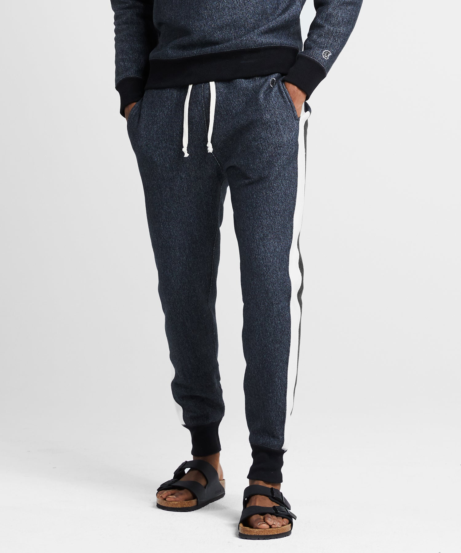 Champion Side Stripe Slim Sweatpant in Dark Charcoal Pepper