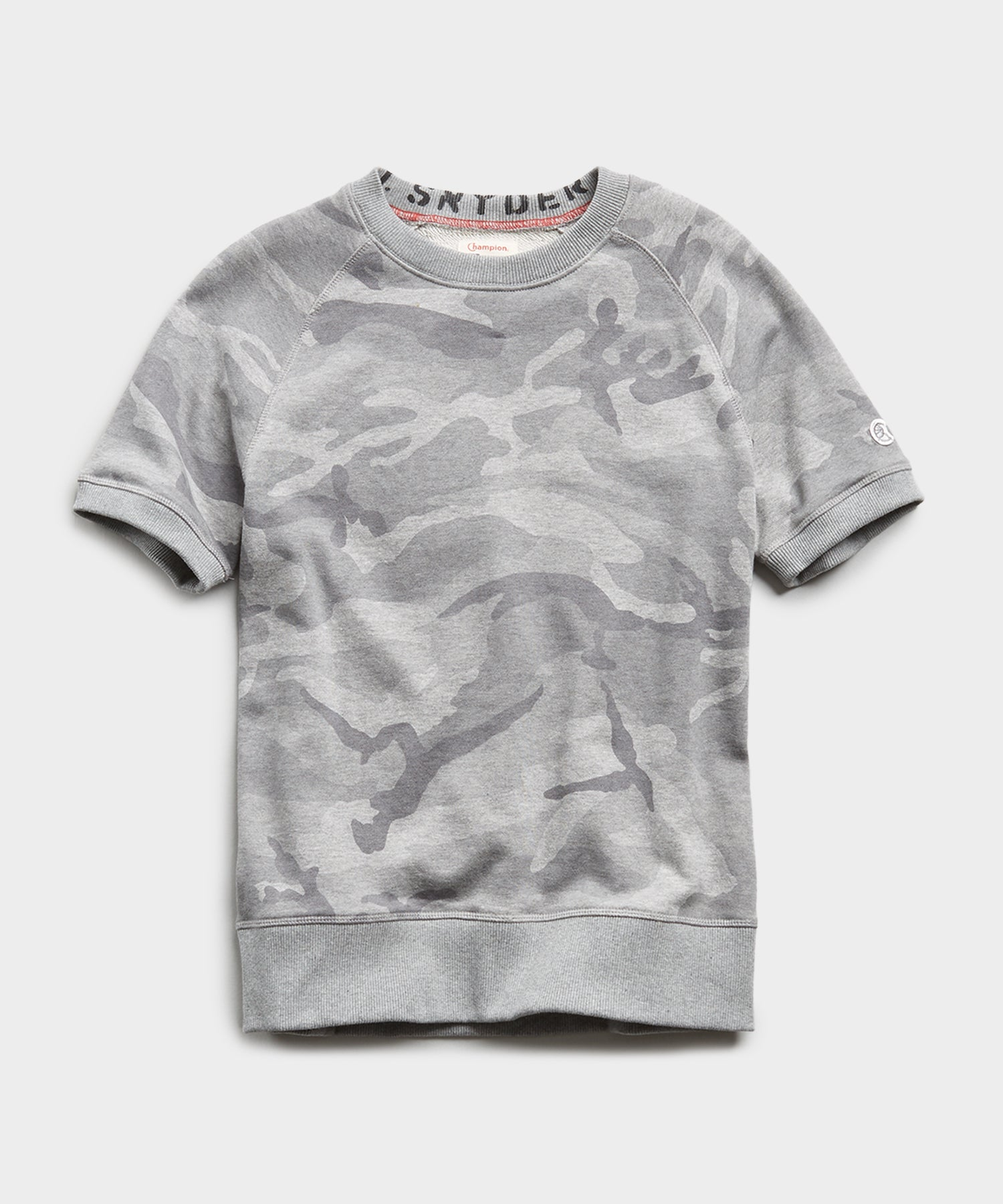 Camo Short Sleeve Sweatshirt in Heather Grey