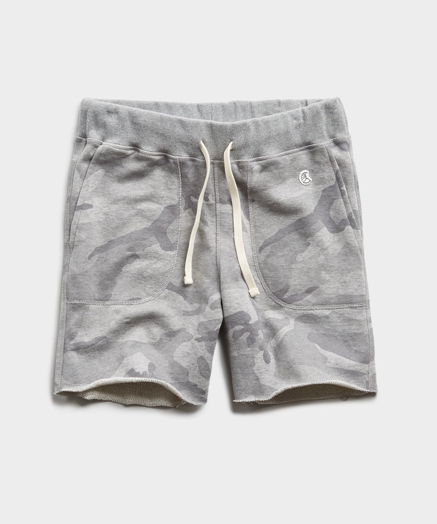 Camo Cut Off Sweatshort in Heather Grey