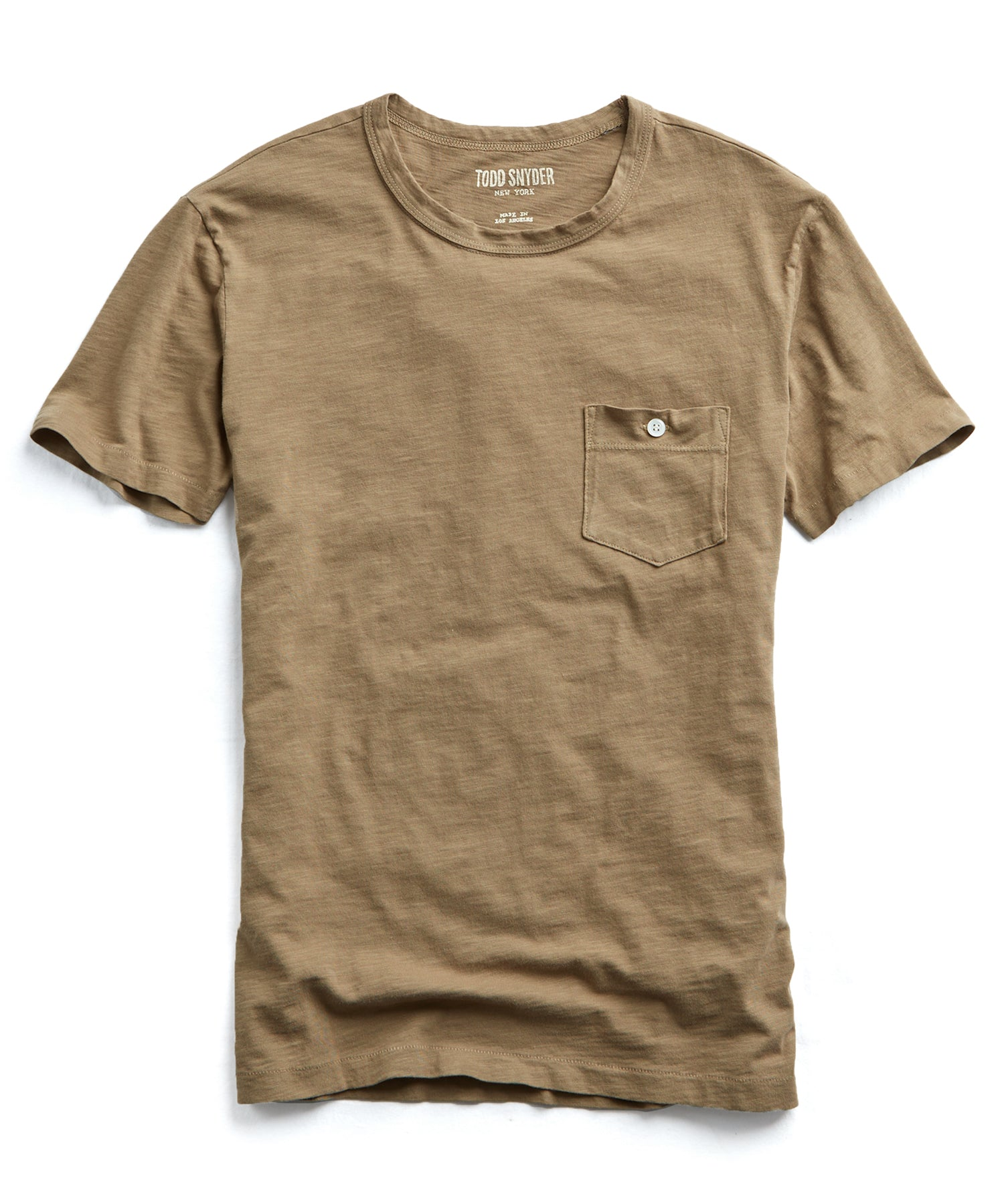 Made in L.A. Slub Jersey Pocket T-Shirt in Tan