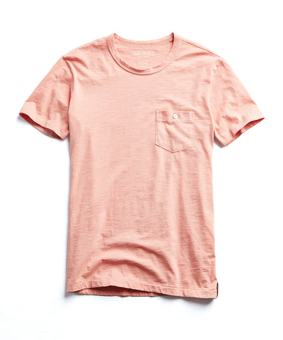 Made in L.A. Slub Jersey Pocket T-Shirt in Fresh Peach