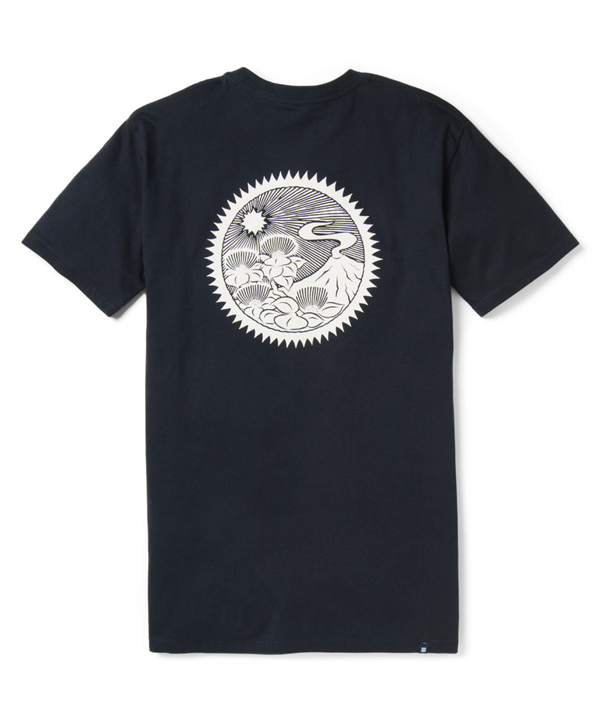 Reyn Spooner Lehua and Volcano T-Shirt in Navy