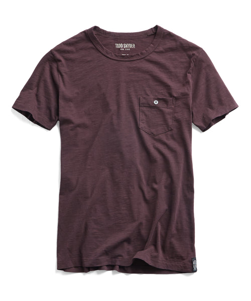 Made in L.A. Slub Jersey Pocket T-Shirt in Burgundy