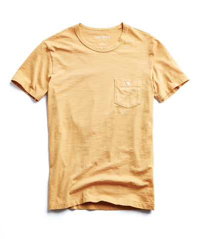 Made in L.A. Slub Jersey Pocket T-Shirt in Saffron