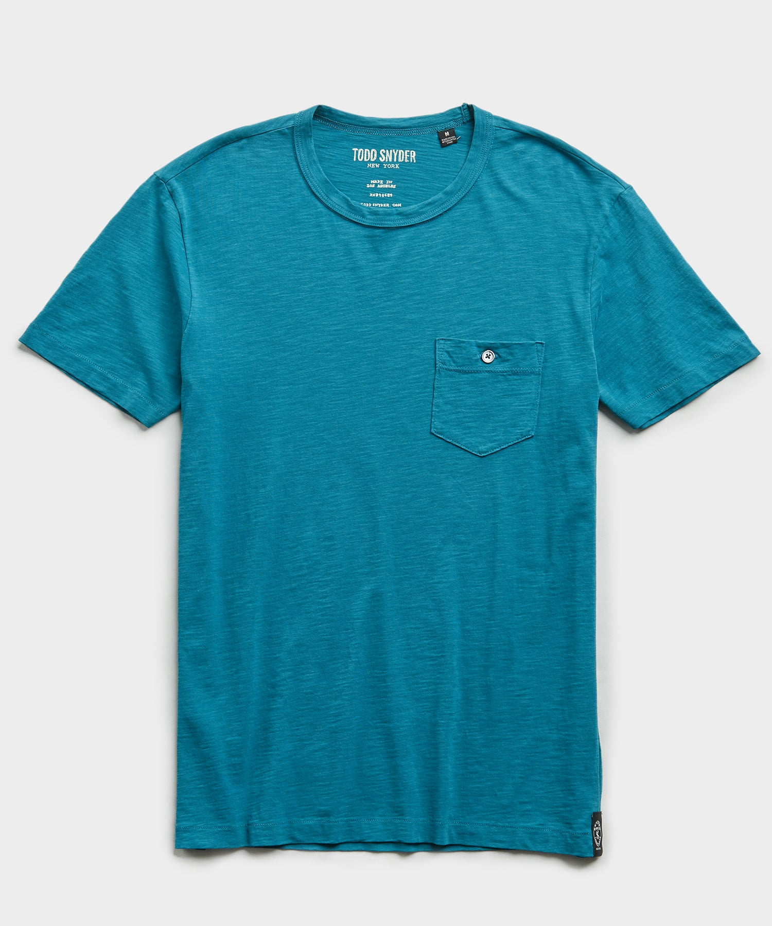 Made in L.A. Slub Jersey Pocket T-Shirt in Turquoise