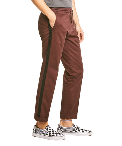Drawstring Side Stripe Trouser in Burgundy