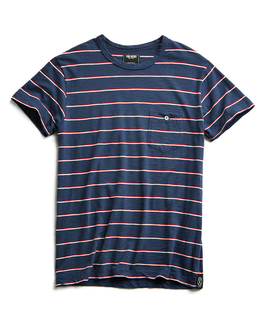 Short Sleeve Stripe T-Shirt in Navy
