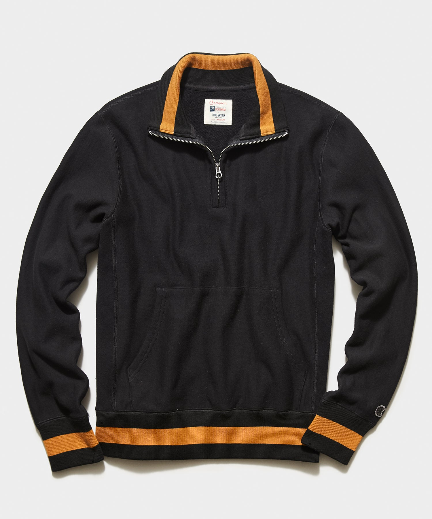 Tipped Quarter Zip Sweatshirt in Blacktop