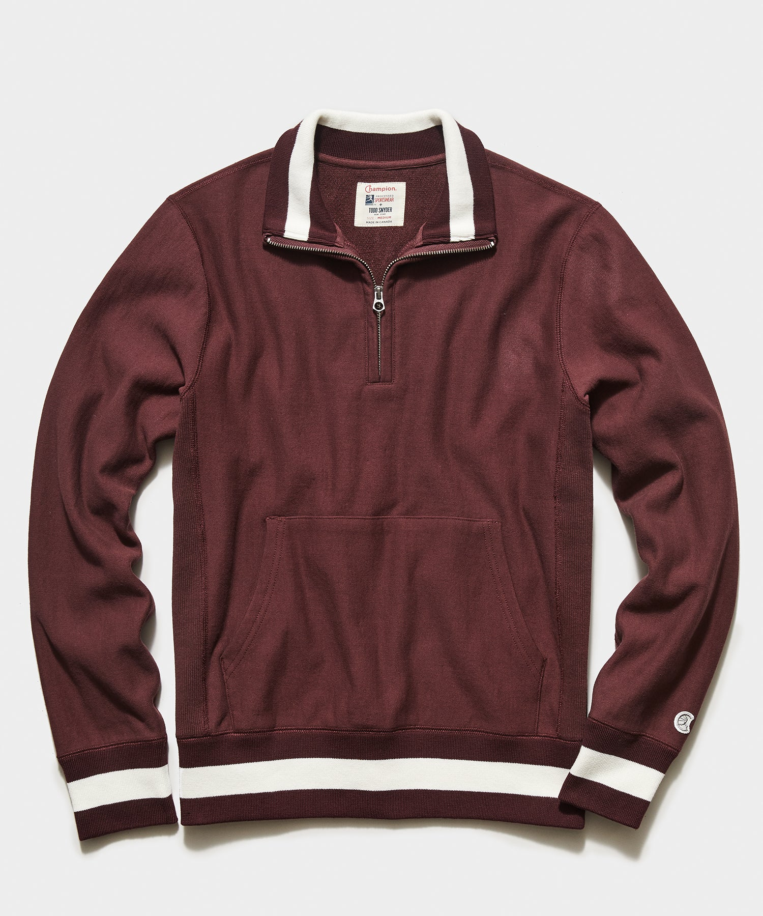 Tipped Quarter Zip Sweatshirt in Garnet