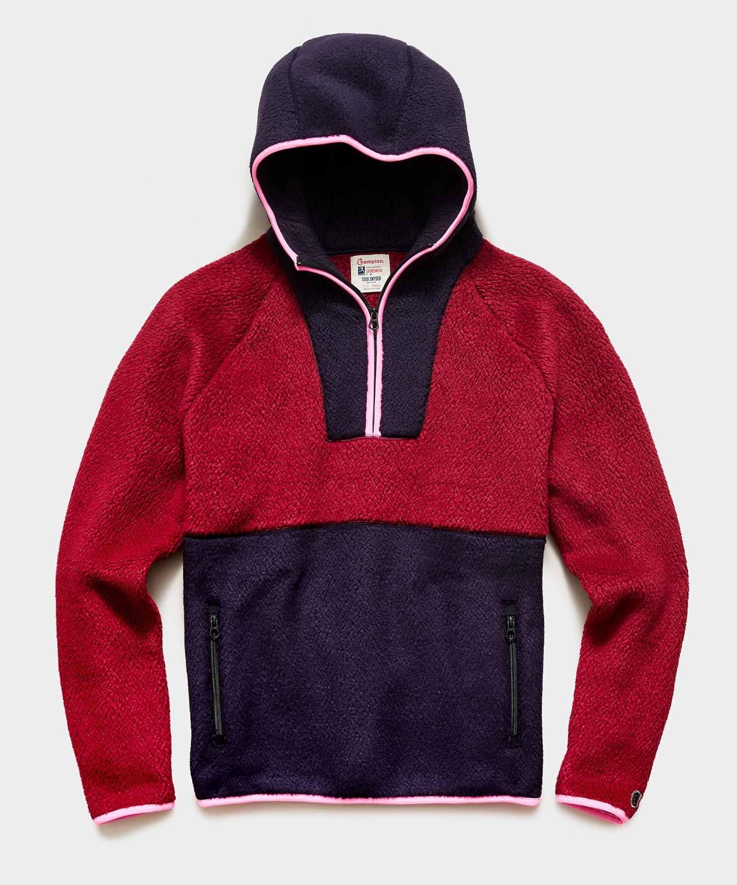 Polartec Half Zip Hoodie  in Crushed Berry