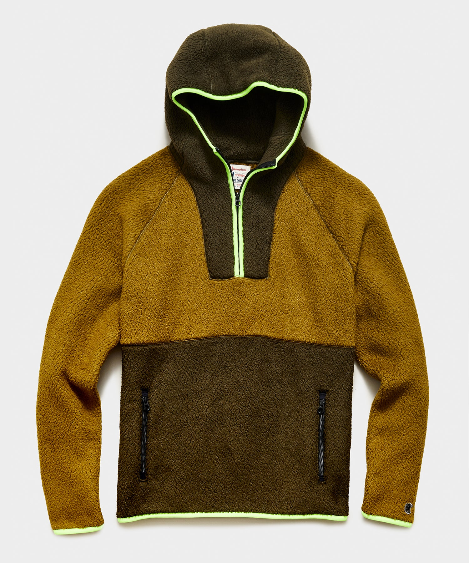 Polartec Half Zip Hoodie in Olive Oil