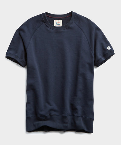 Fleece Short Sleeve Sweatshirt in Navy