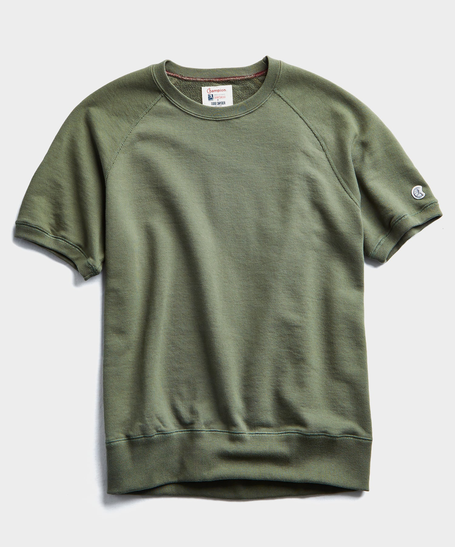 Lightweight Short Sleeve Sweatshirt in Washed Olive