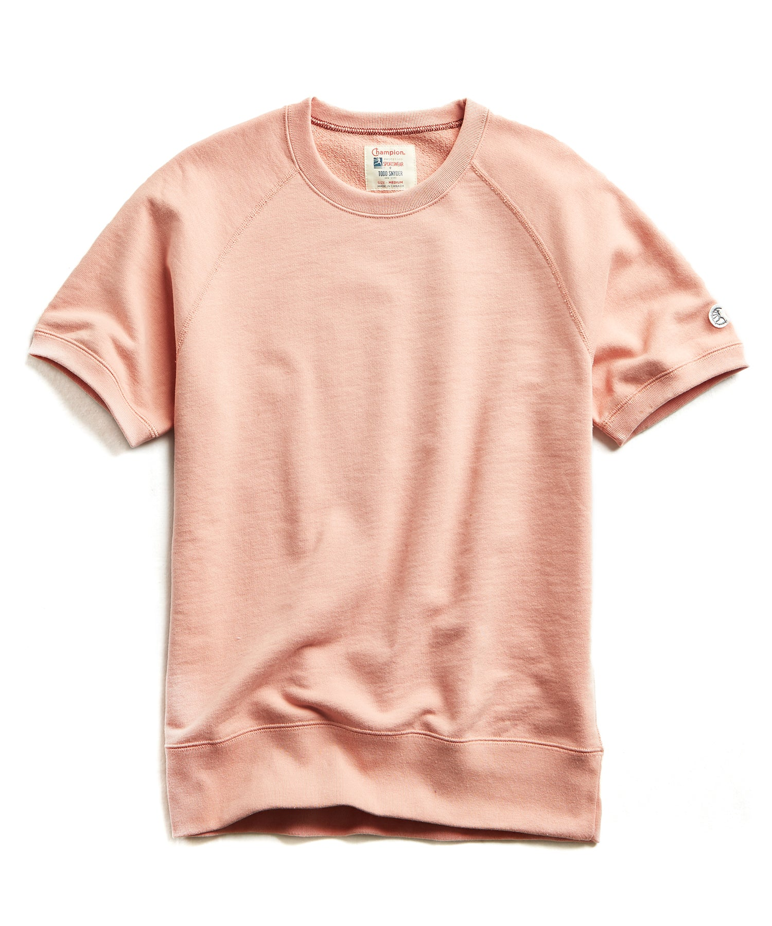 Terry Short Sleeve Sweatshirt in Pale Salmon