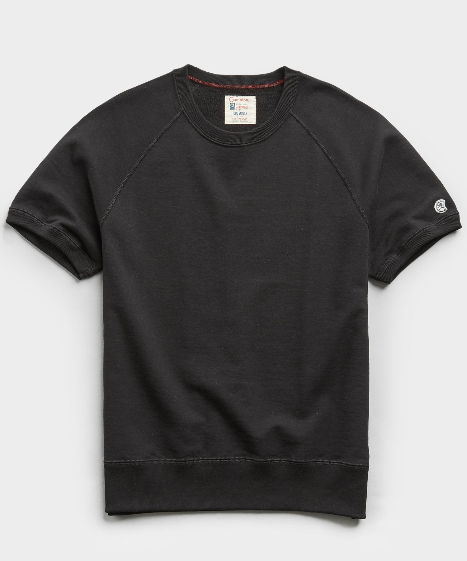 Fleece Short Sleeve Sweatshirt in Black