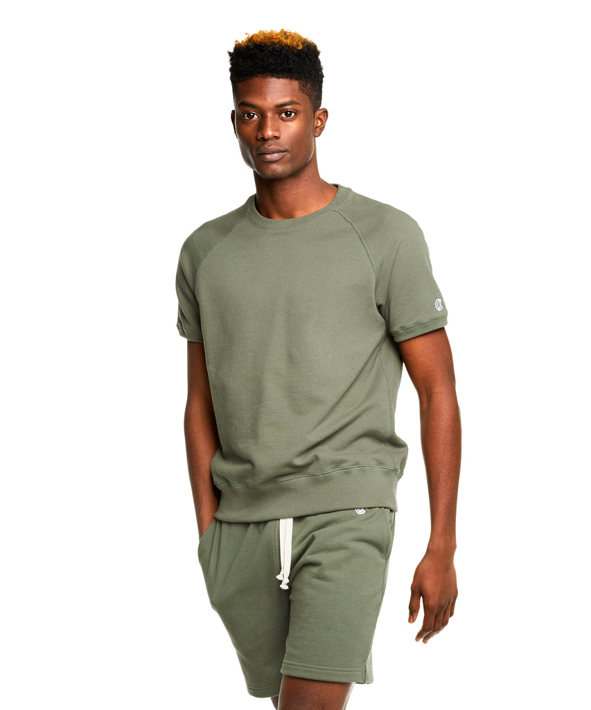 Terry Short Sleeve Sweatshirt in Olive Grove