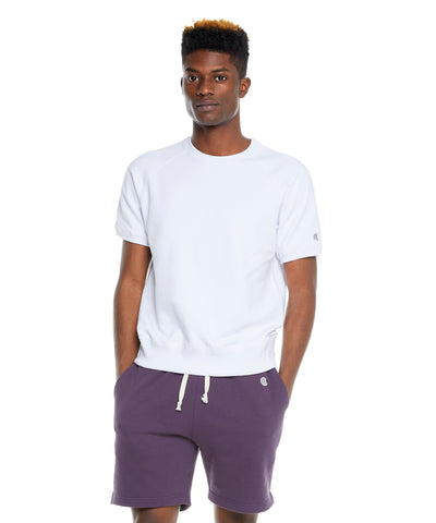 Terry Short Sleeve Sweatshirt in White