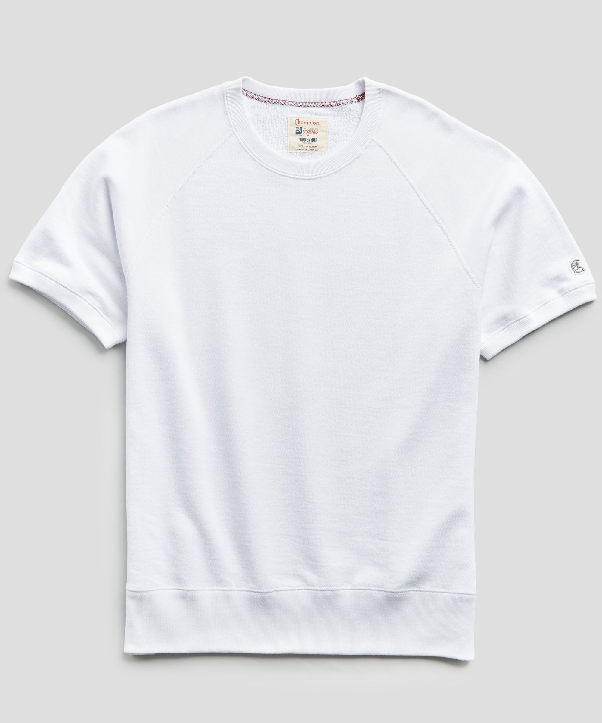 Lightweight Short Sleeve Sweatshirt in White
