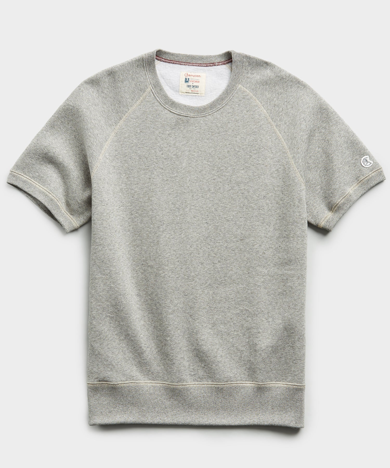 Fleece Short Sleeve Sweatshirt in Light Grey Mix