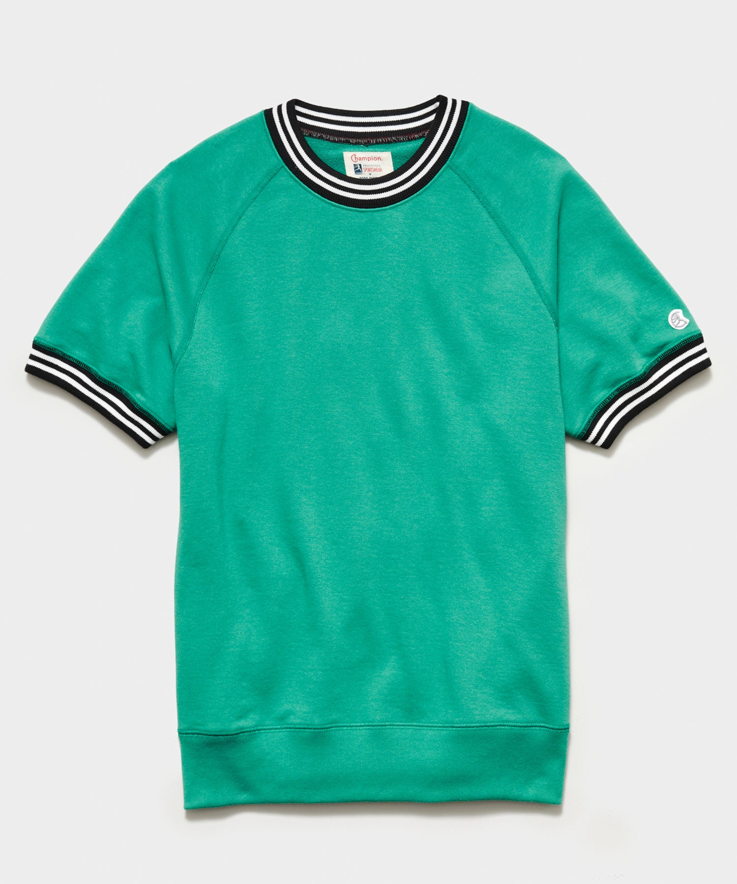 Tipped Short Sleeve Sweatshirt in Greenhouse