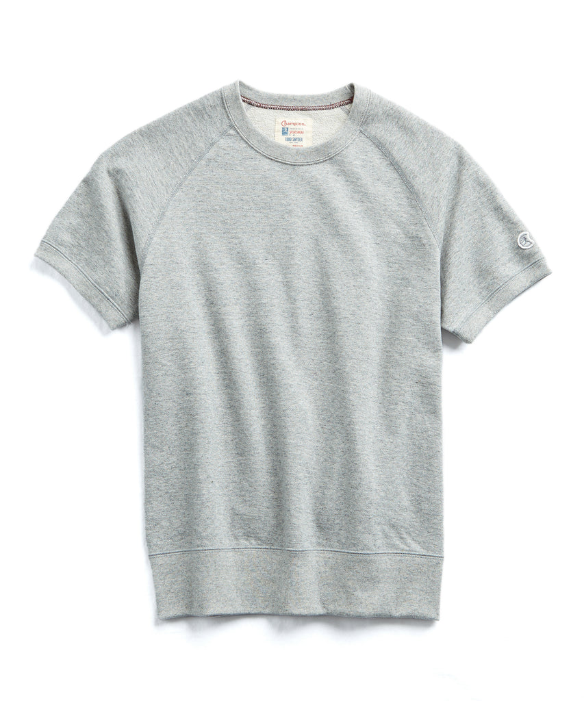 Terry Short Sleeve Sweatshirt in Light Grey Mix