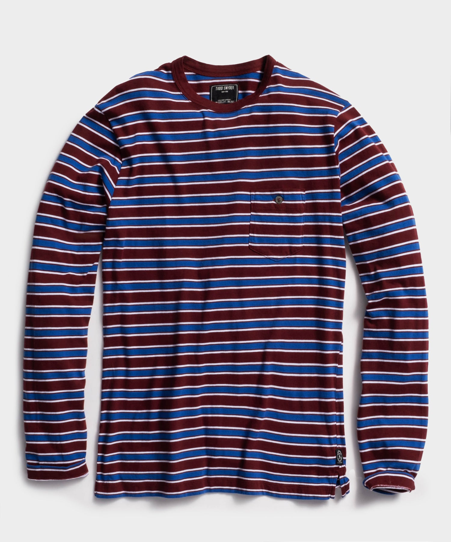Long Sleeve Grant Stripe Pocket Tee in Maroon
