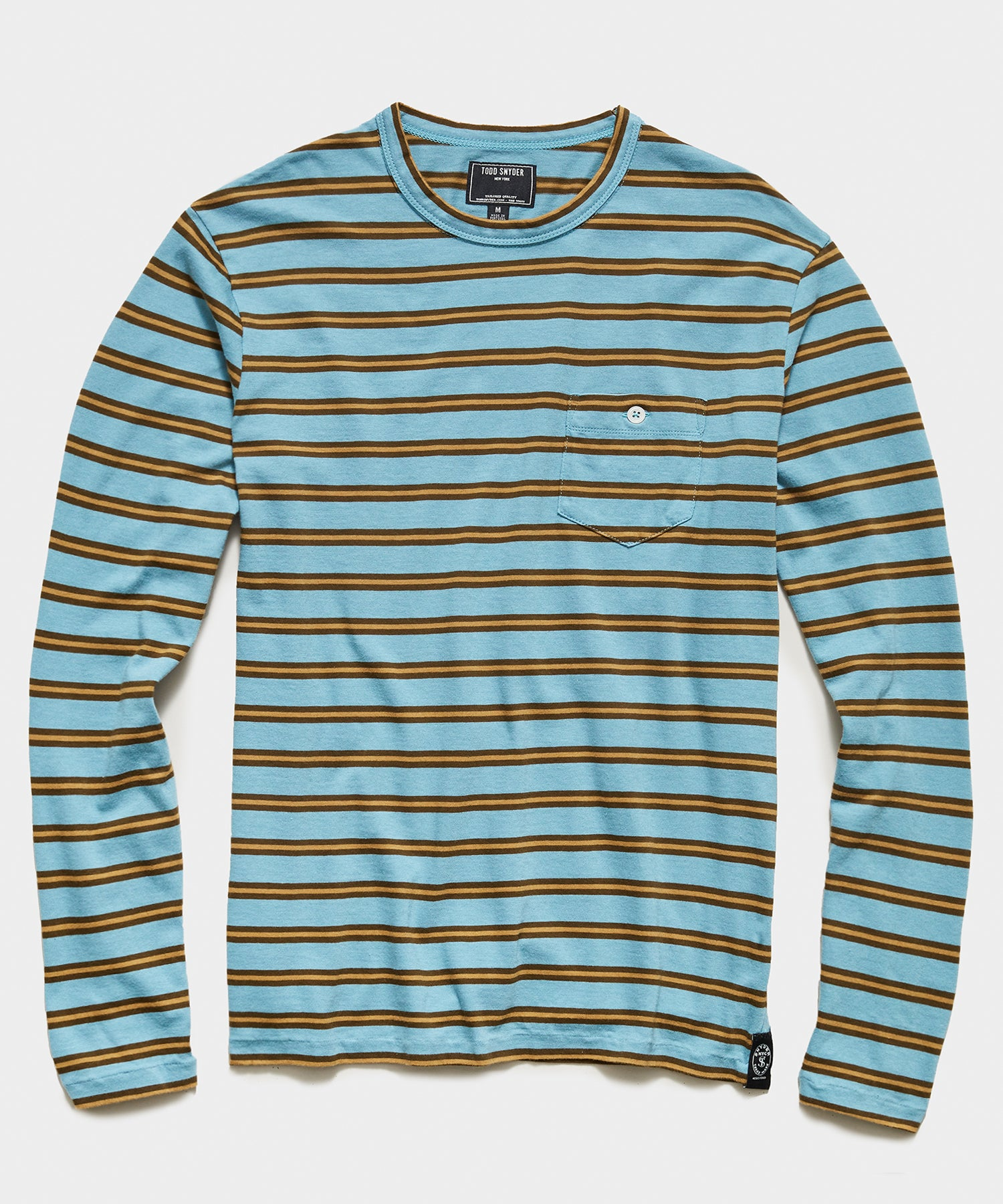 Long Sleeve Grant Stripe Pocket Tee in Blue and Gold