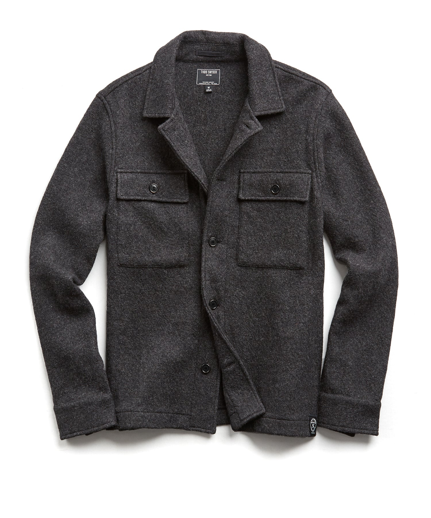 Italian Boucle Knit Shirt Jacket in Charcoal