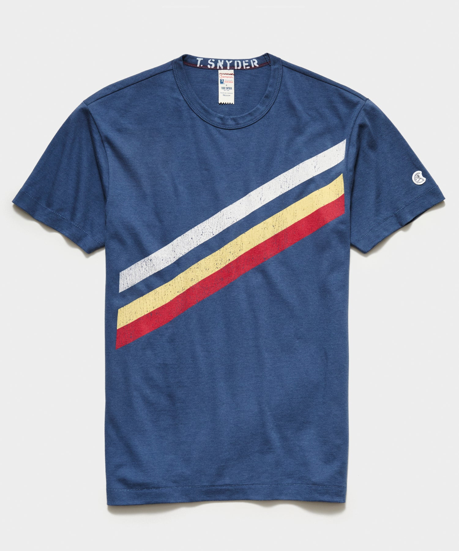 Champion Diagonal Stripe Tee in Navy