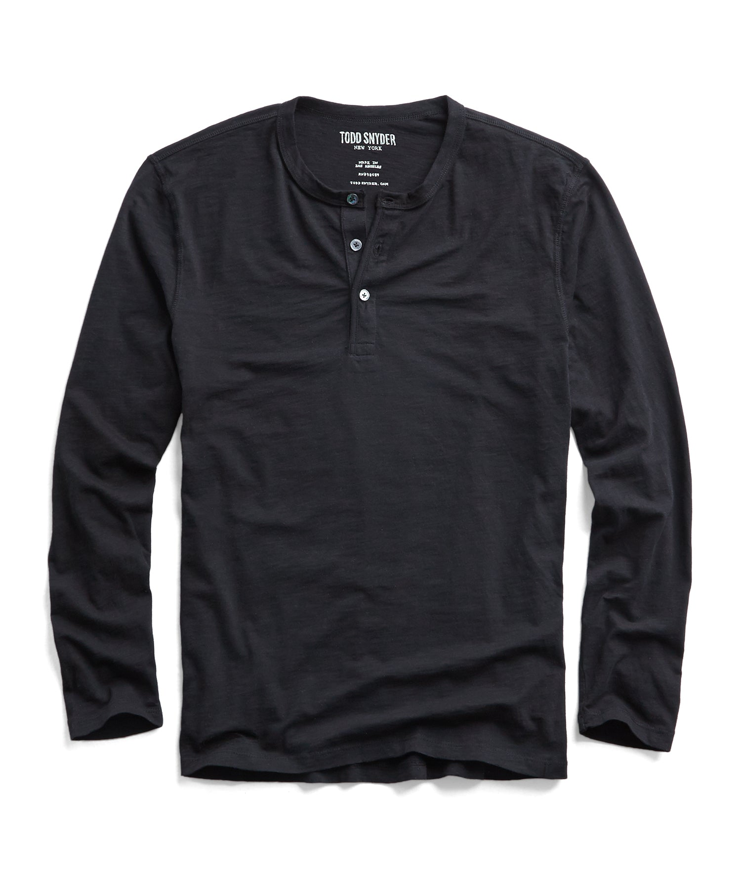 Made in L.A. Slub Jersey LS Henley in Black