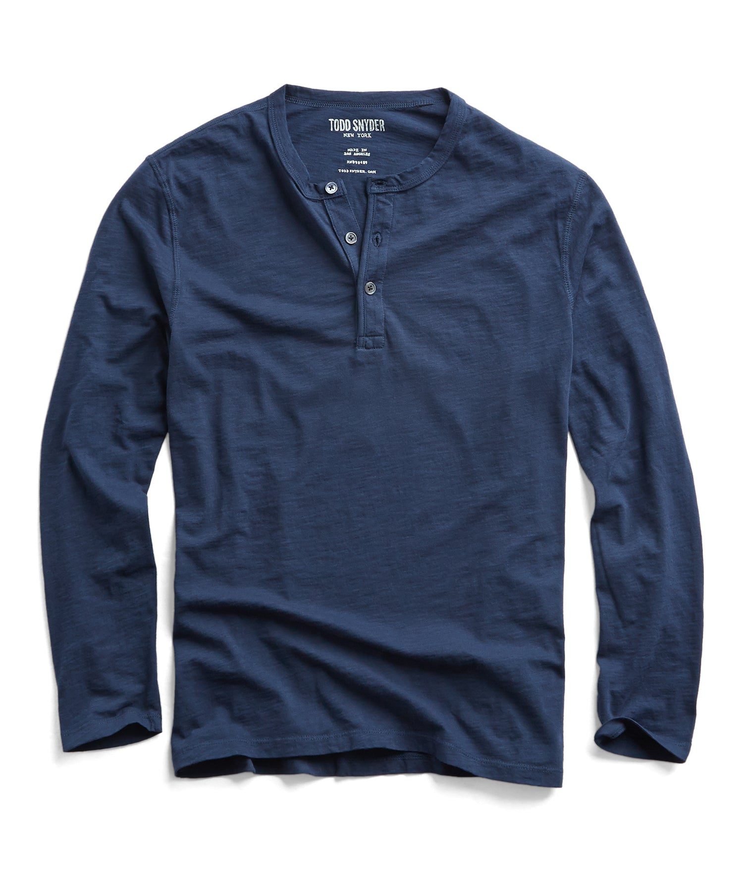Made in L.A. Slub Jersey LS Henley in Navy