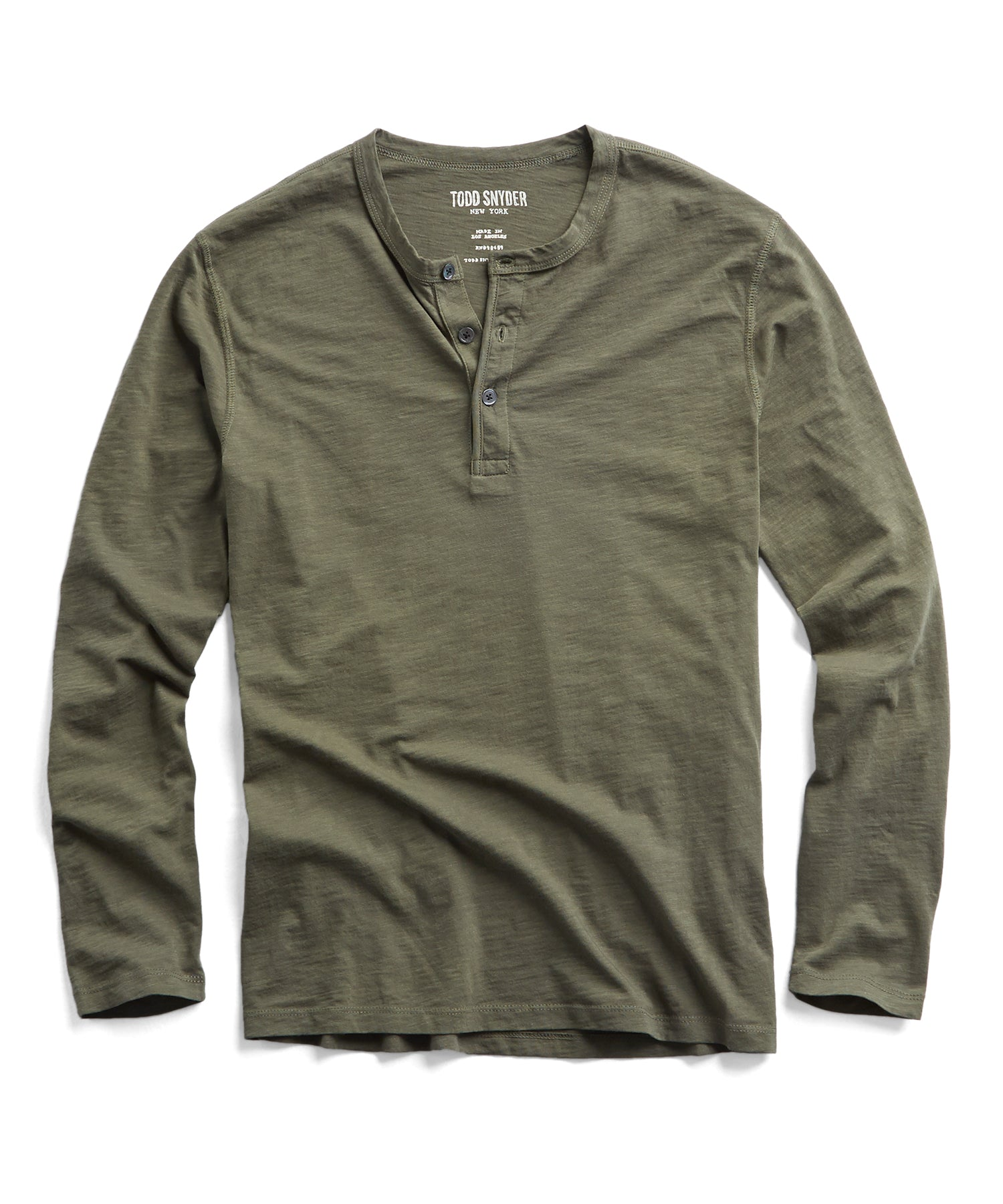 Made in L.A. Slub Jersey LS Henley in Olive