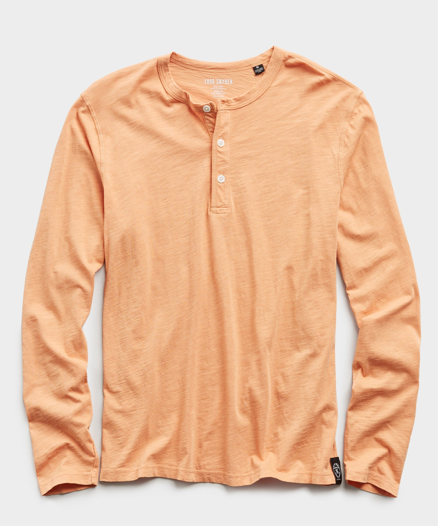 Made In L.A. Slub Jersey LS Henley in Fresh Melon