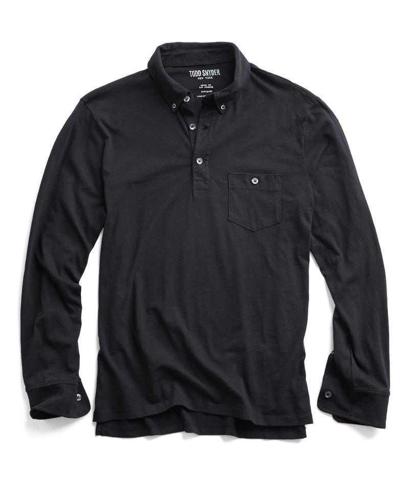 Made in L.A. Slub Jersey Long Sleeve Polo in Black