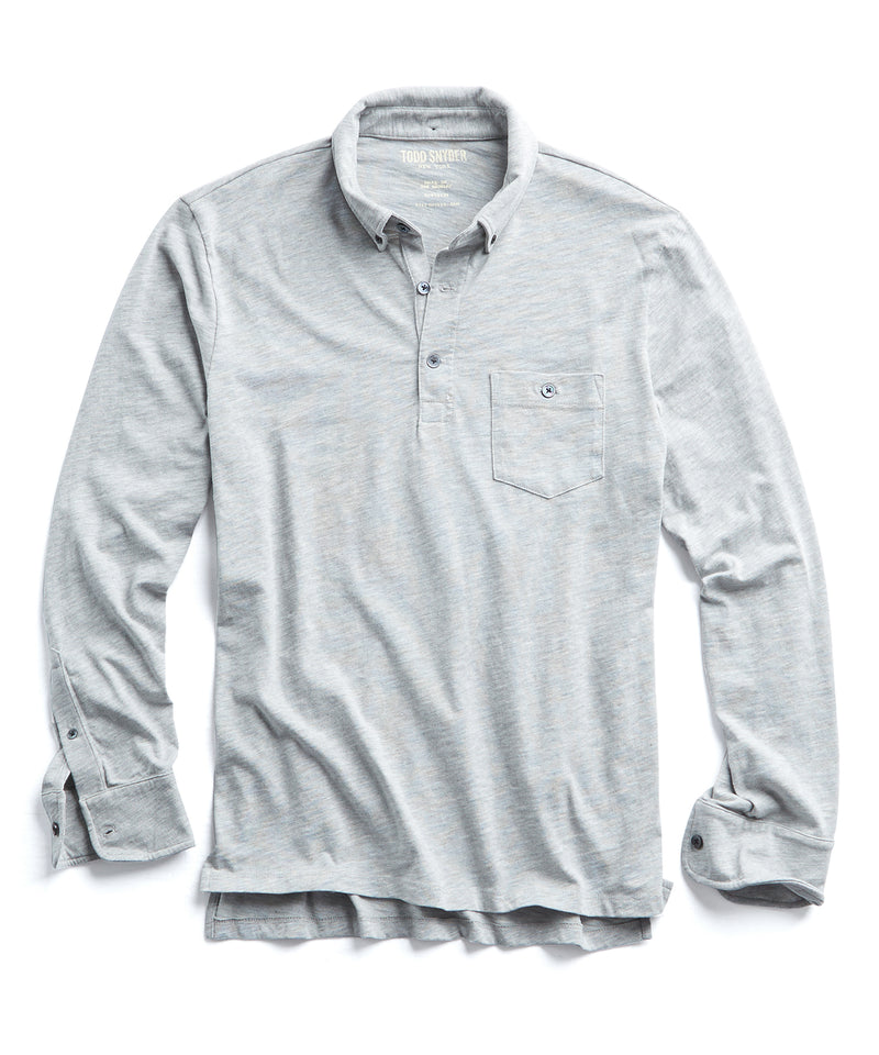 Made in L.A. Slub Jersey Long Sleeve Polo in Grey