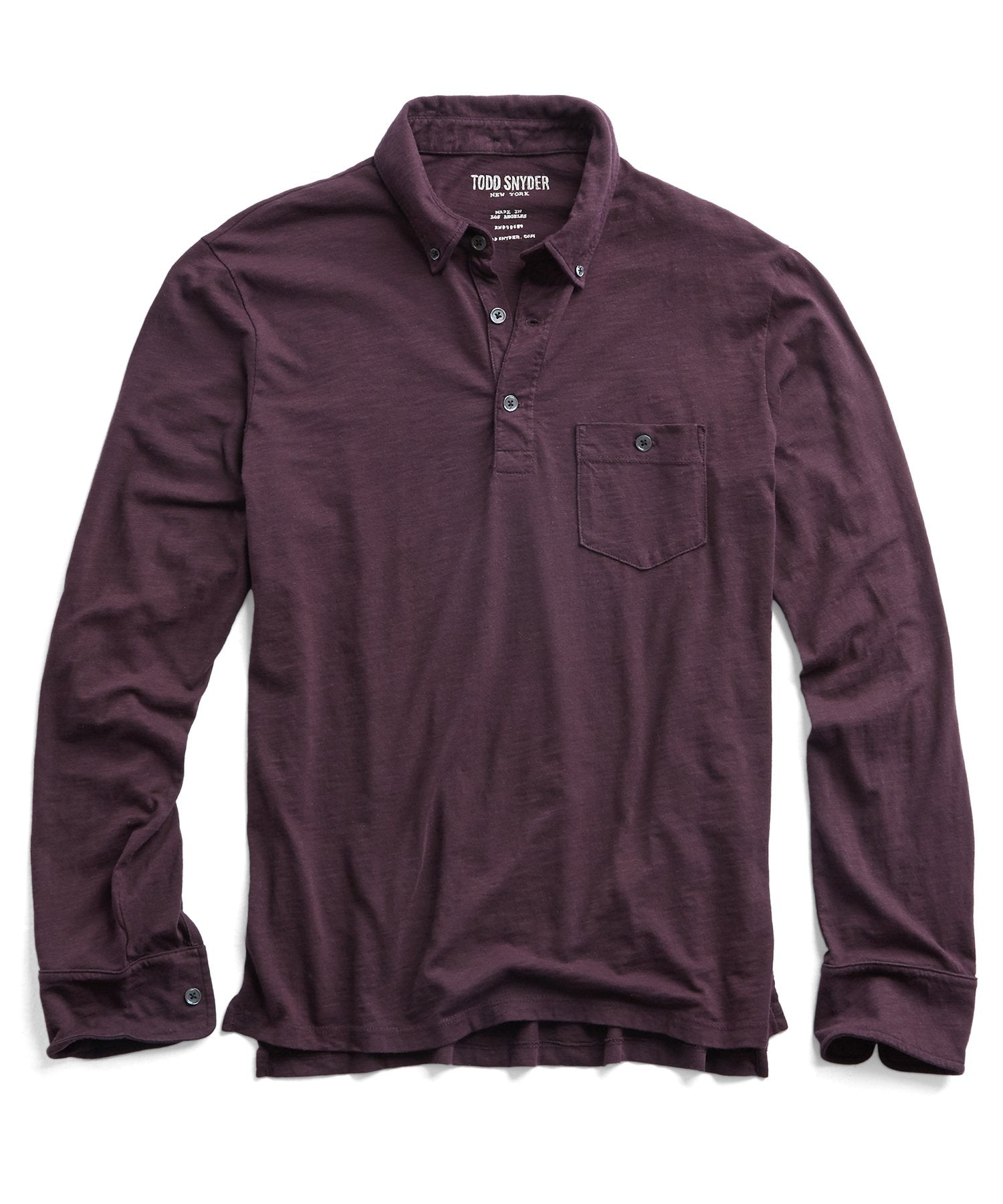 Made in L.A. Slub Jersey Long Sleeve Polo in Burgundy